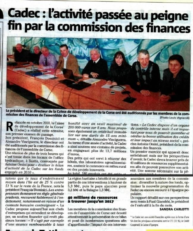 Corse Matin - Cadec : l'activité passée au peigne fin par la commission des finances.