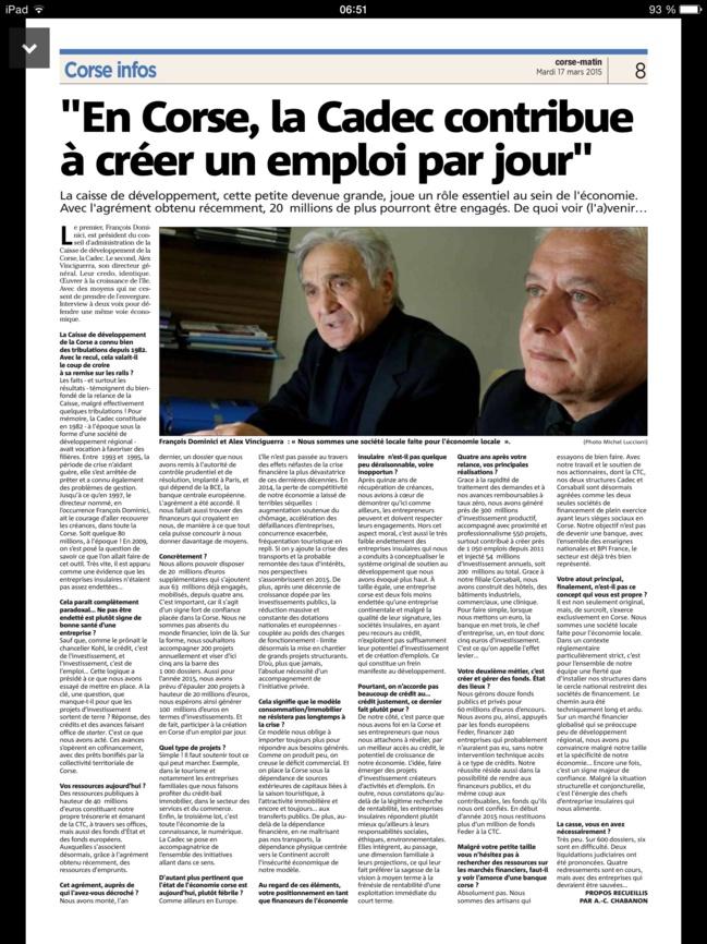 CORSE MATIN : En Corse, la CADEC contribue à créer 1 emploi par jour